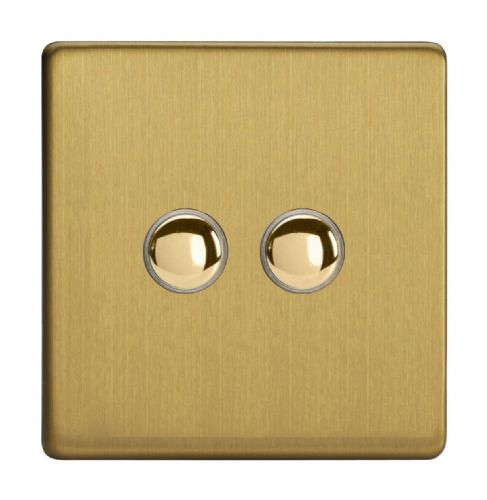 Varilight IJDBS002S Screwless Brushed Brass 2 Gang Touch Dimming Slave (use only with Master)